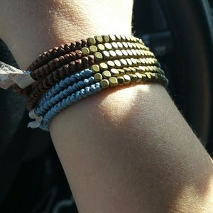 NWOT braided bronze bead bracelet